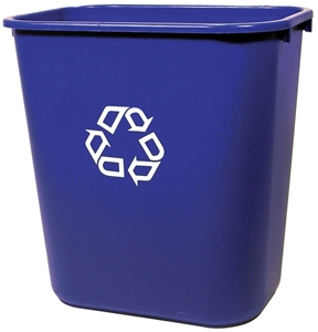 Deskside small blue recycling container
