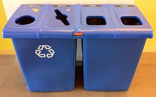 USM Waste Collection Stations have openings for Returnables, All Recyclables, and Trash