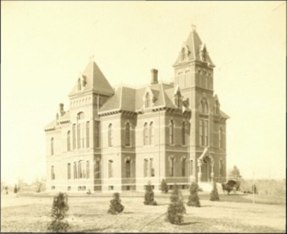 The original school building of Western State Normal School, later renamed Gorham Normal School. The building is now known as Corthell Hall, housing the School of Music.
