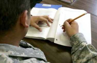 Veteran student with pencil