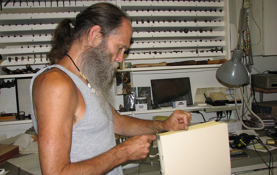 Gray Parrot working in his Studio