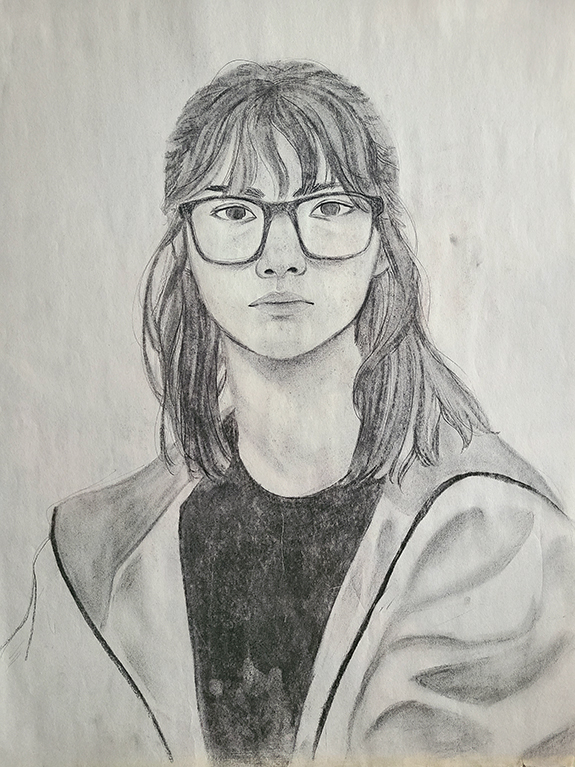 Self Portrait, Willow Charcoal, 18
