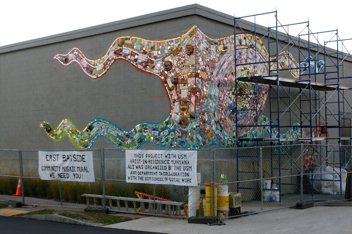 East Bayside Mural under construction