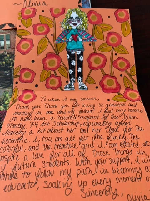 Scholarship Thanks You note by Olicia Dyer