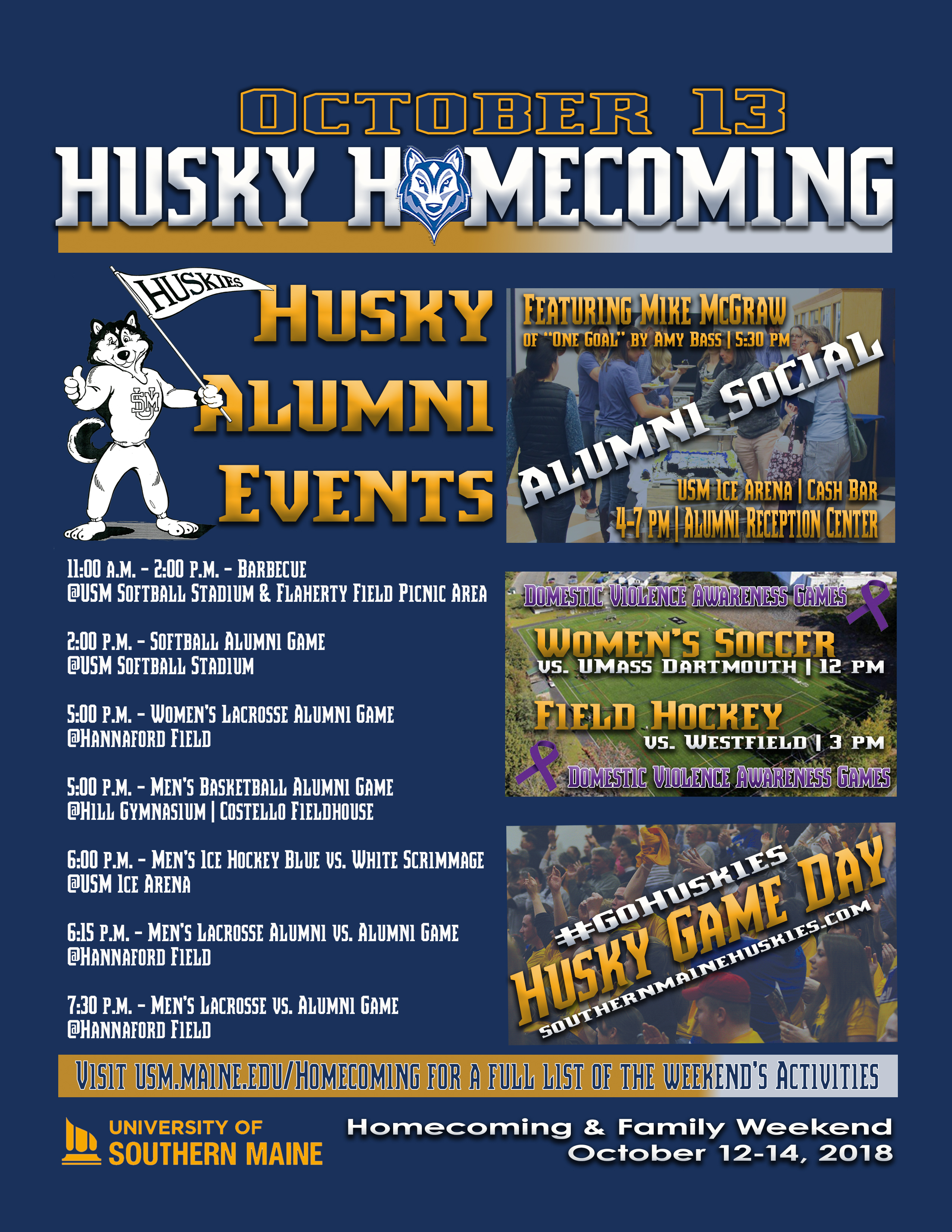 Husky Homecoming Schedule of Events Graphic
