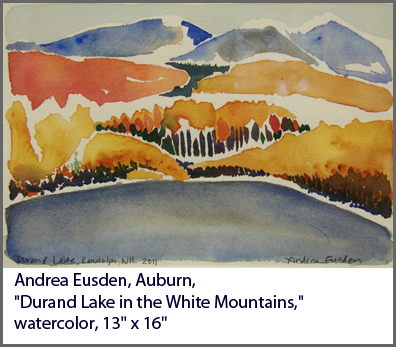 "Andrea Eusden, Auburn, ""Durand Lake in the White Mountains,"" watercolor, 13"" x 16"""