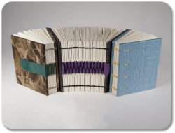 Miniature hardcover books with non-adhesive binding