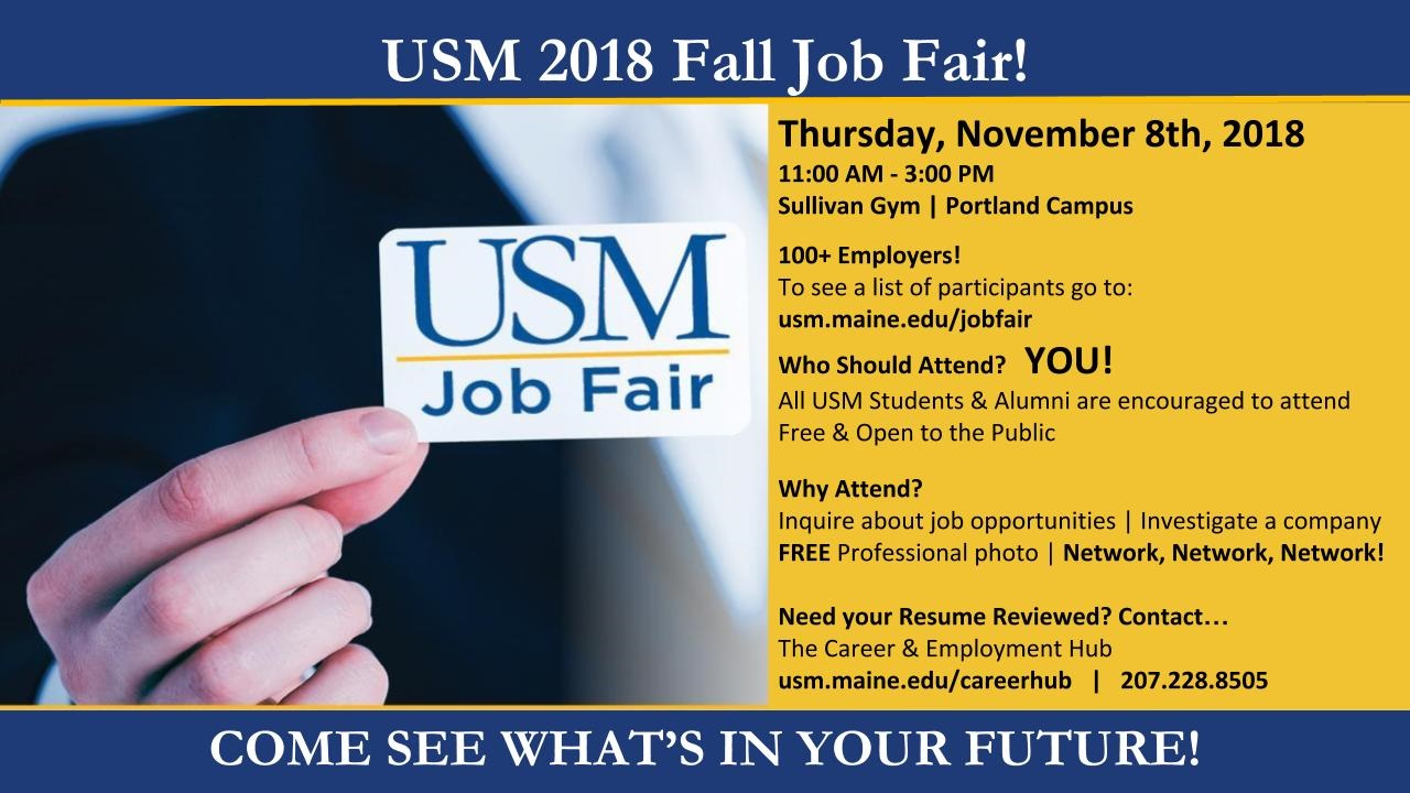 USM 2018 Fall Job Fair: Student Overview | Career & Employment Hub ...