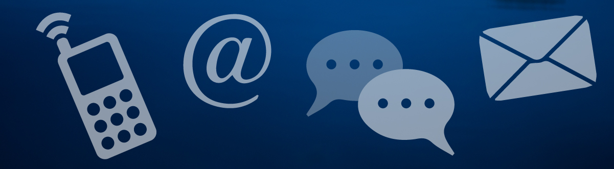 A graphic with images of a cell phone, email '@' symbol, text bubbles, and an envelope.