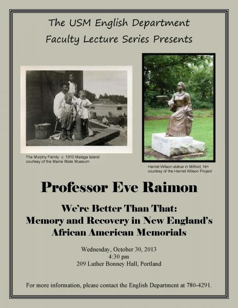 USM English Department Faculty Lecture Series - 10/30/13
