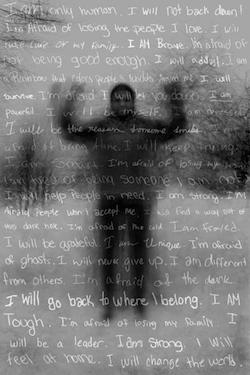 Poster of a teenager with personal statements superimposed