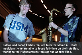 Gideon and Jacob Forbes play their instruments