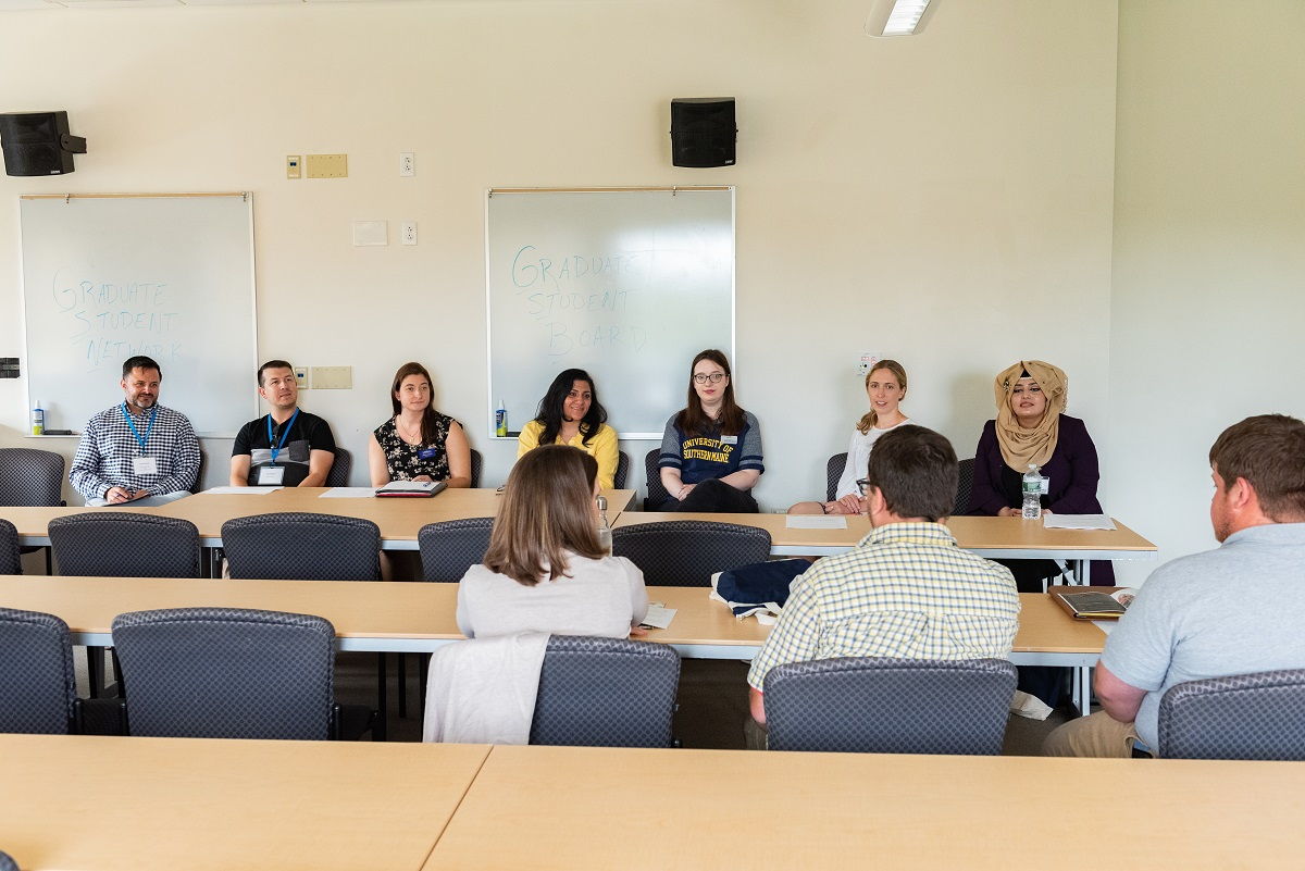 Graduate Student Board listening to students at Orientation event