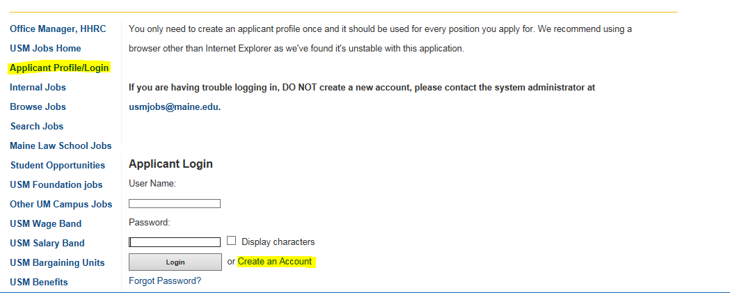 screenshot of applicant profile page