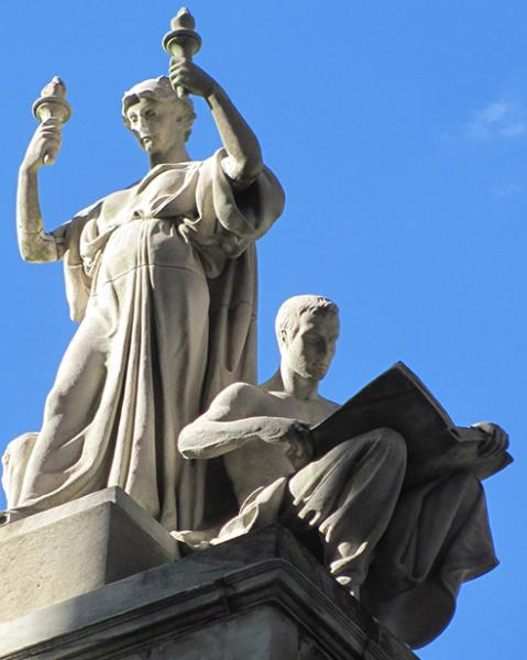 Justice and study sculpture by Daniel Chester French
