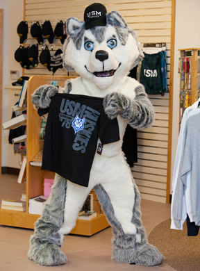 Husky with USM clothing