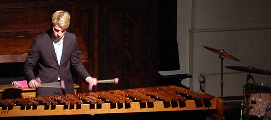 USM School of Music Percussionist playing a marimba