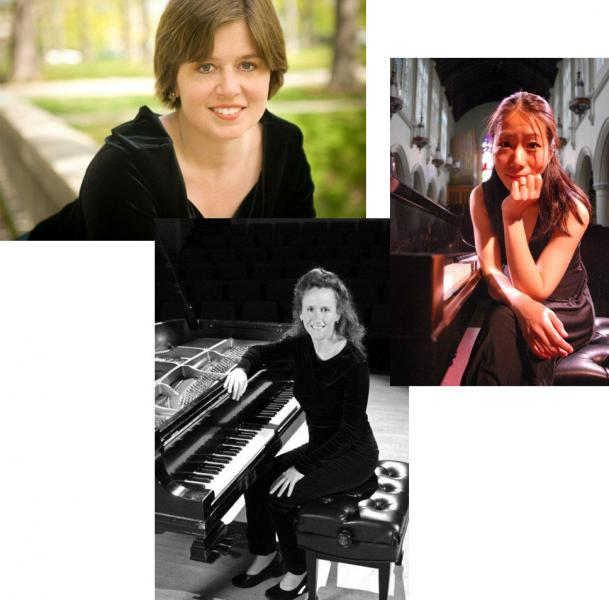 Pianists Chiharu Naruse, Anastasia Antonacos, and Bridget Convey