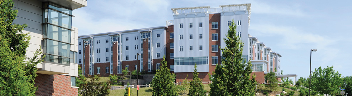A view of our residence halls in summer