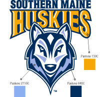 The Southern Maine Huskies logo with Pantone color swatches