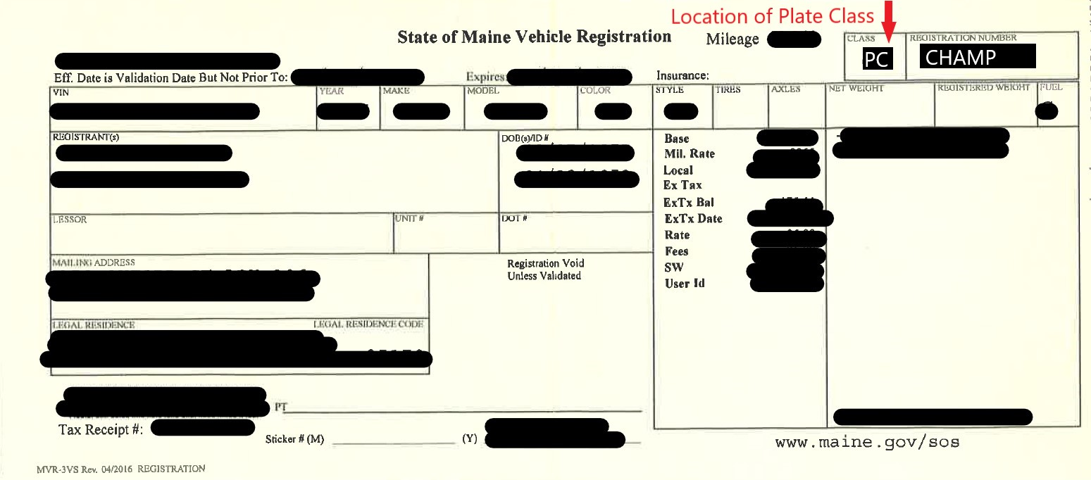 Maine Registration Sample - Location of Plate Class
