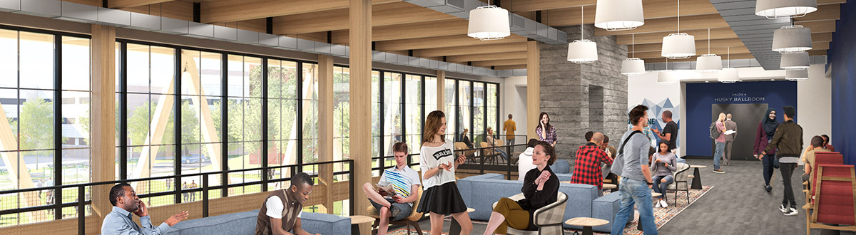 An architectural rendering of the second floor of the new Career & Student Success Center