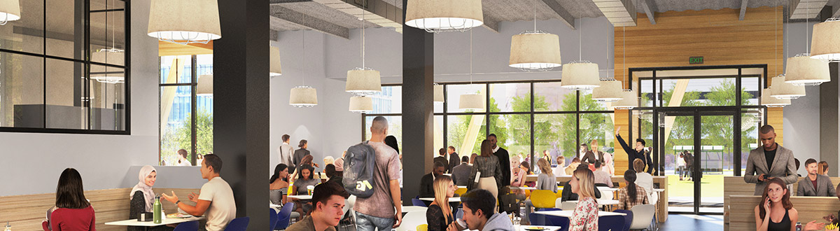 An architectural rendering of the dining area in the new Career & Student Success Center at the University of Southern Maine.