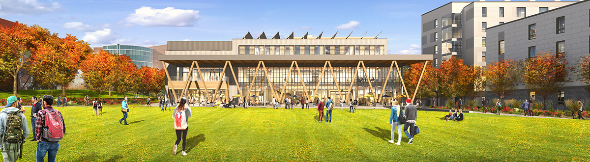 An architectural rendering of the new Residential Quad.