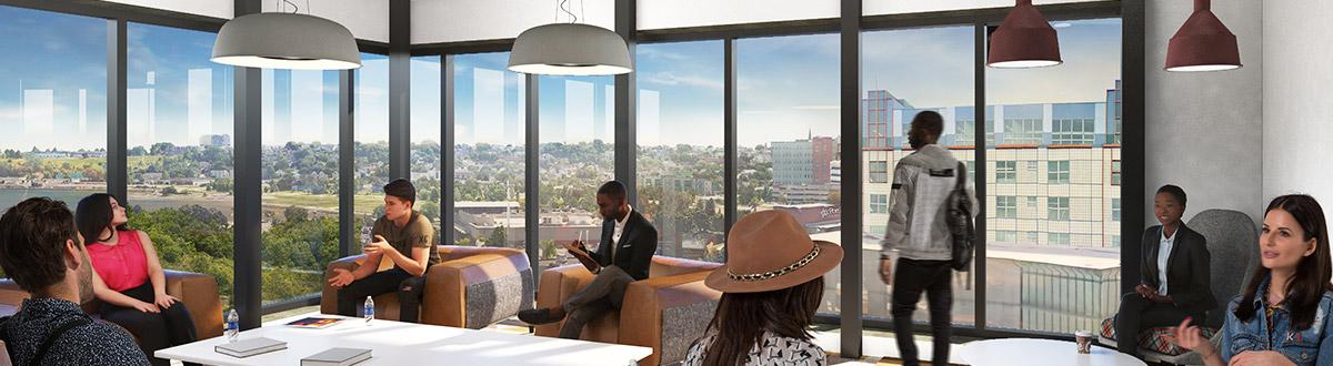 An architectural rendering of a student lounge on an upper floor of the new University of Southern Maine Portland Commons Residence Hall.
