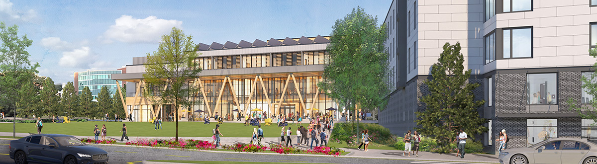 An architectural rendering of the new Portland campus Residential Quad and Career & Student Success Center.