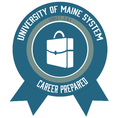 University of Southern Maine Badge blue and white