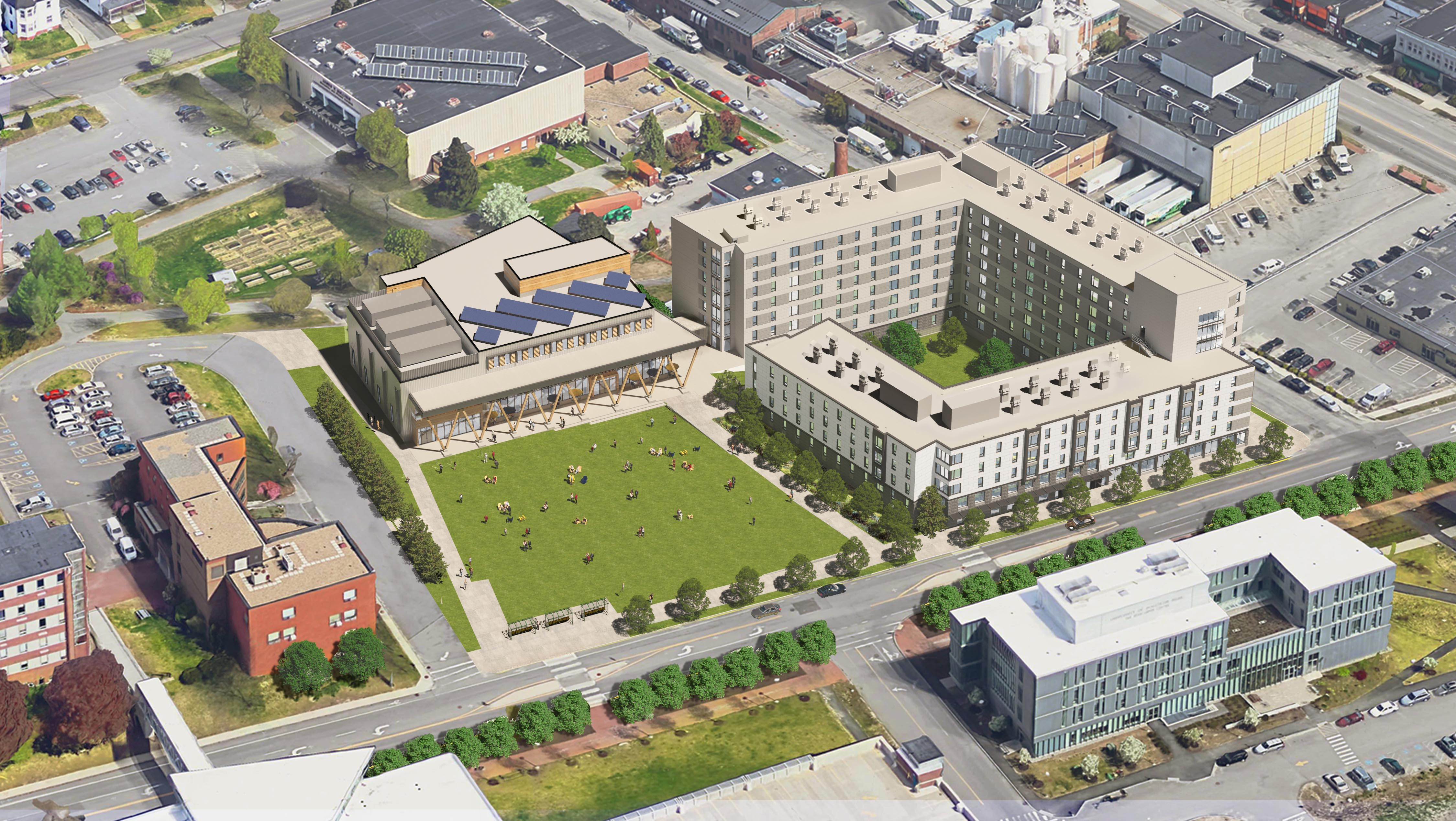 A bird's eye view of the new one-acre quad, residence hall, and career and student success center that comprise the Portland Campus Development Project