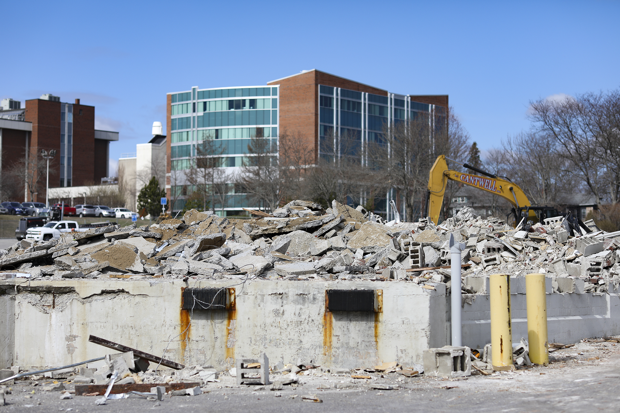 A photo of the foundation remains of Woodbury Campus Center
