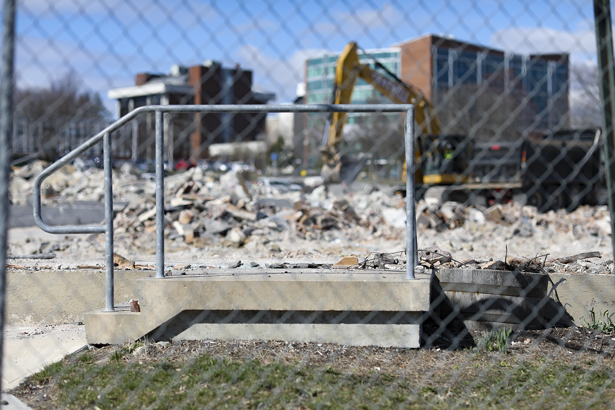 A short staircase to 25 Bedford Street remains intact at the demolition site.