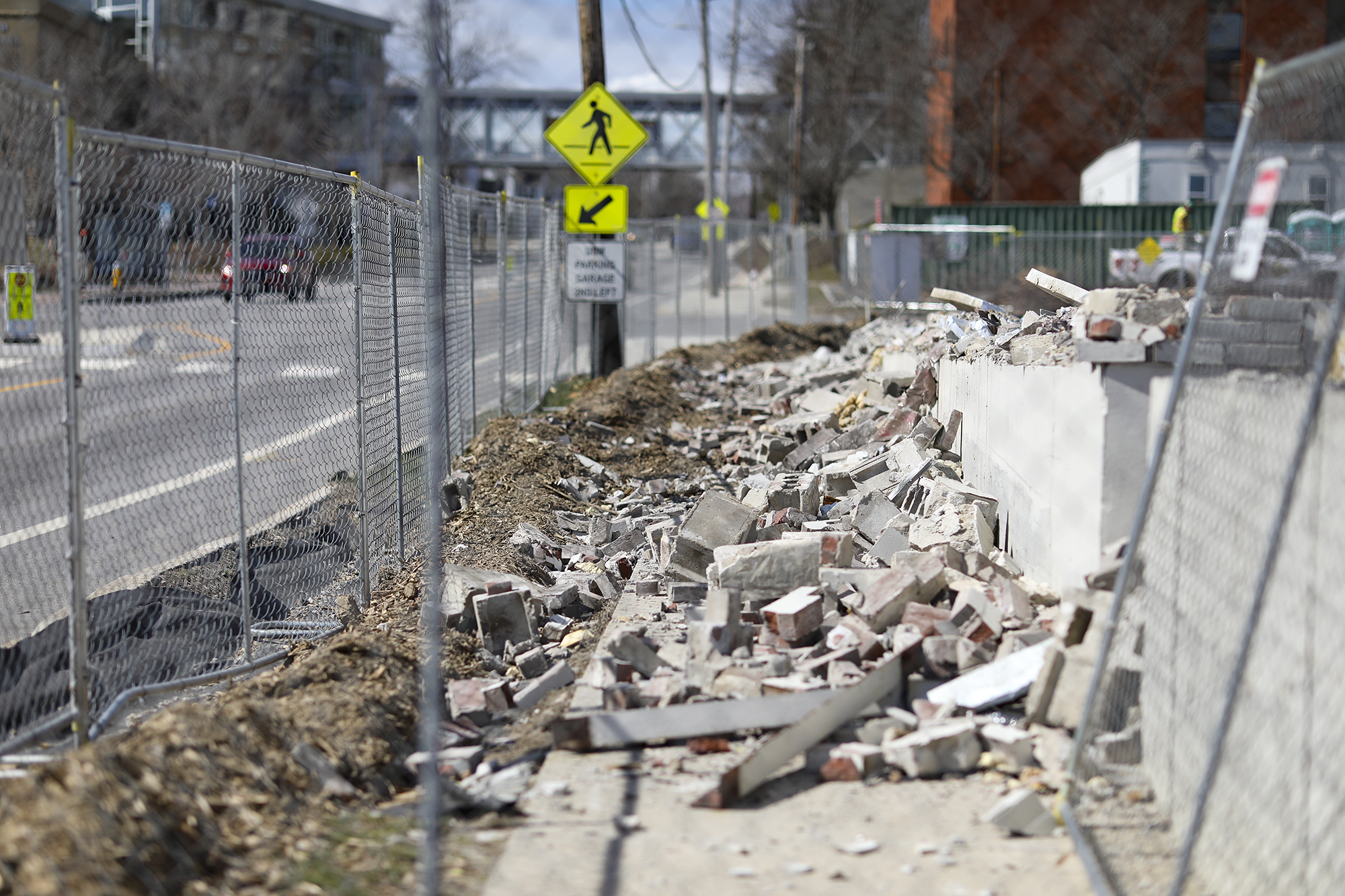 A photo of the construction debris encroaching on Bedford Street.