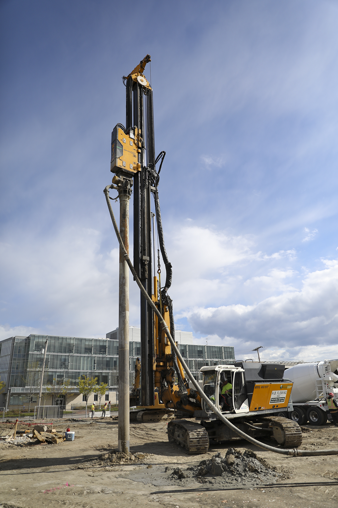 An image of a multi-faceted ground improvement machine drilling into the soil at USM
