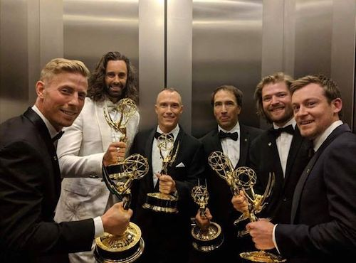 David Lovejoy and crew with Emmy Awards