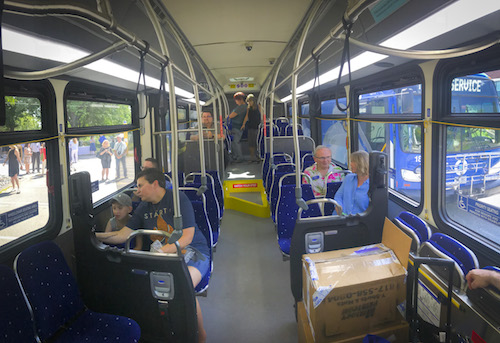 A panoramic view of the inside of the Husky Line buses