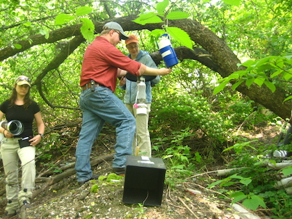 Students deploy CDC light traps to collect vector mosquitoes in the field.