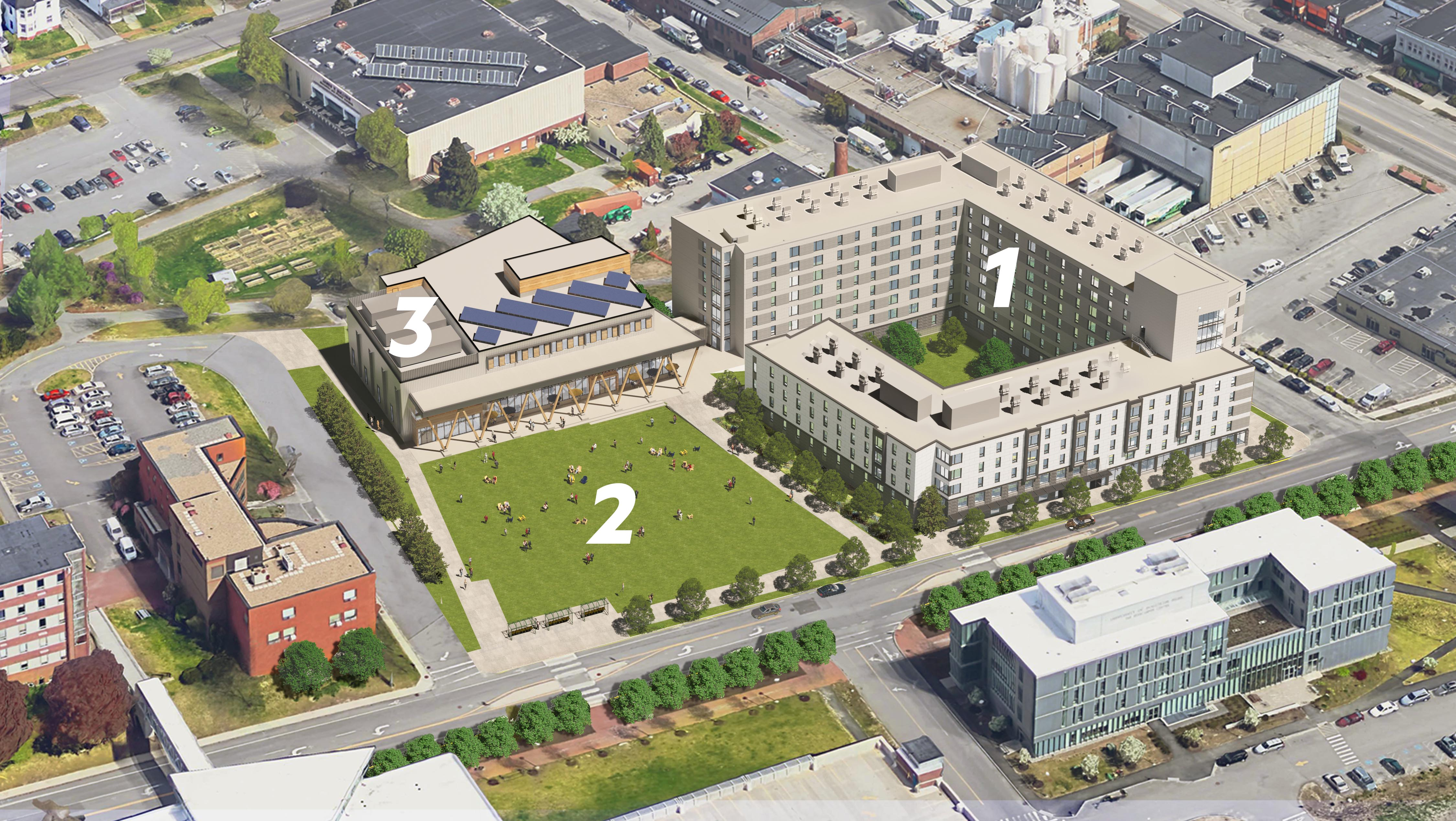 An annotated bird's eye view of the Portland Campus Development Project