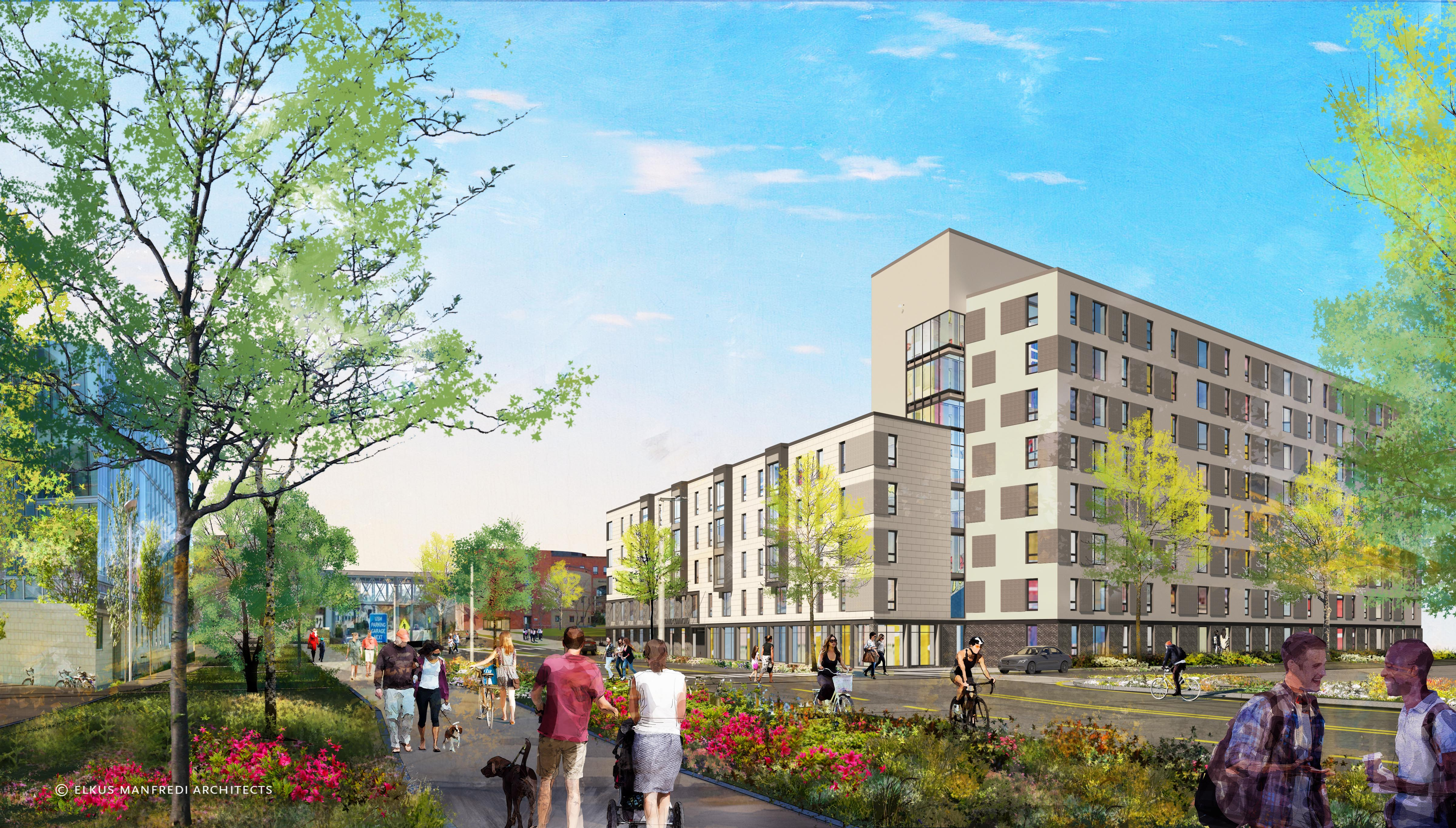 An architect's rendering of the Portland Commons residence hall