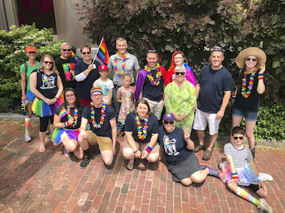 Several USM students and staff gather ahead of the 2018 Pride Parade
