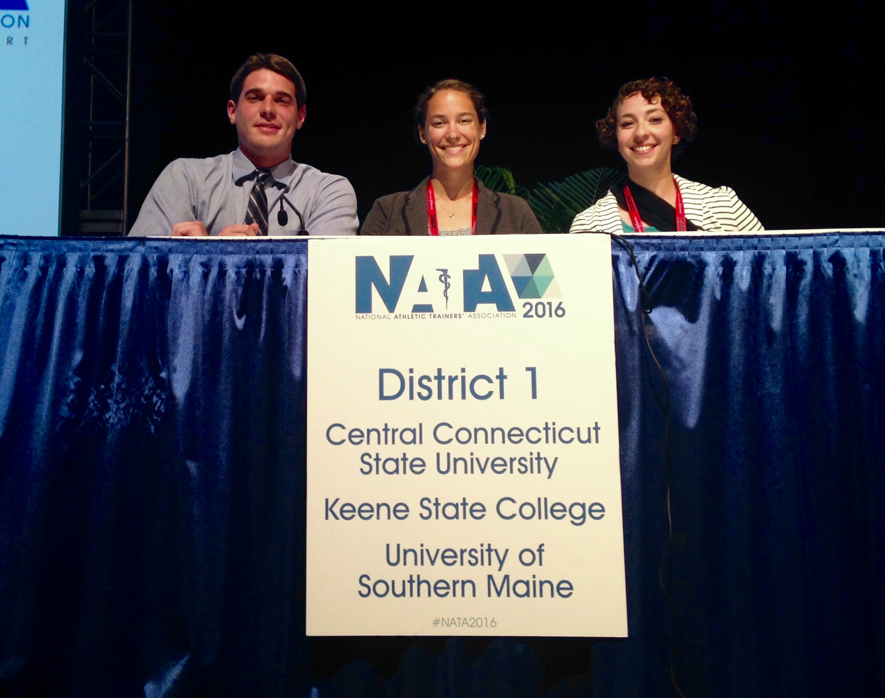 Photo of USM Athletic Training student Leah Dell (middle) competing at the National Athletic Training Association's Quiz Bowl