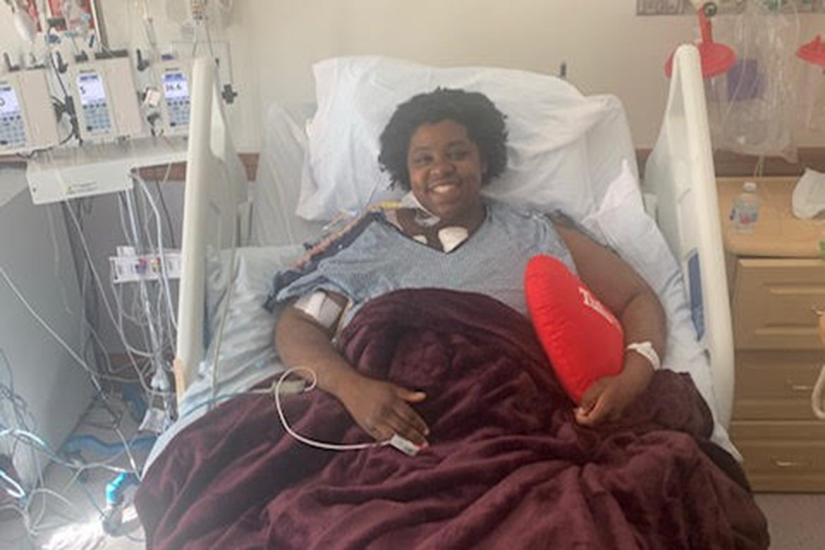 A photo of USM student Tiffany Dunn in a hospital