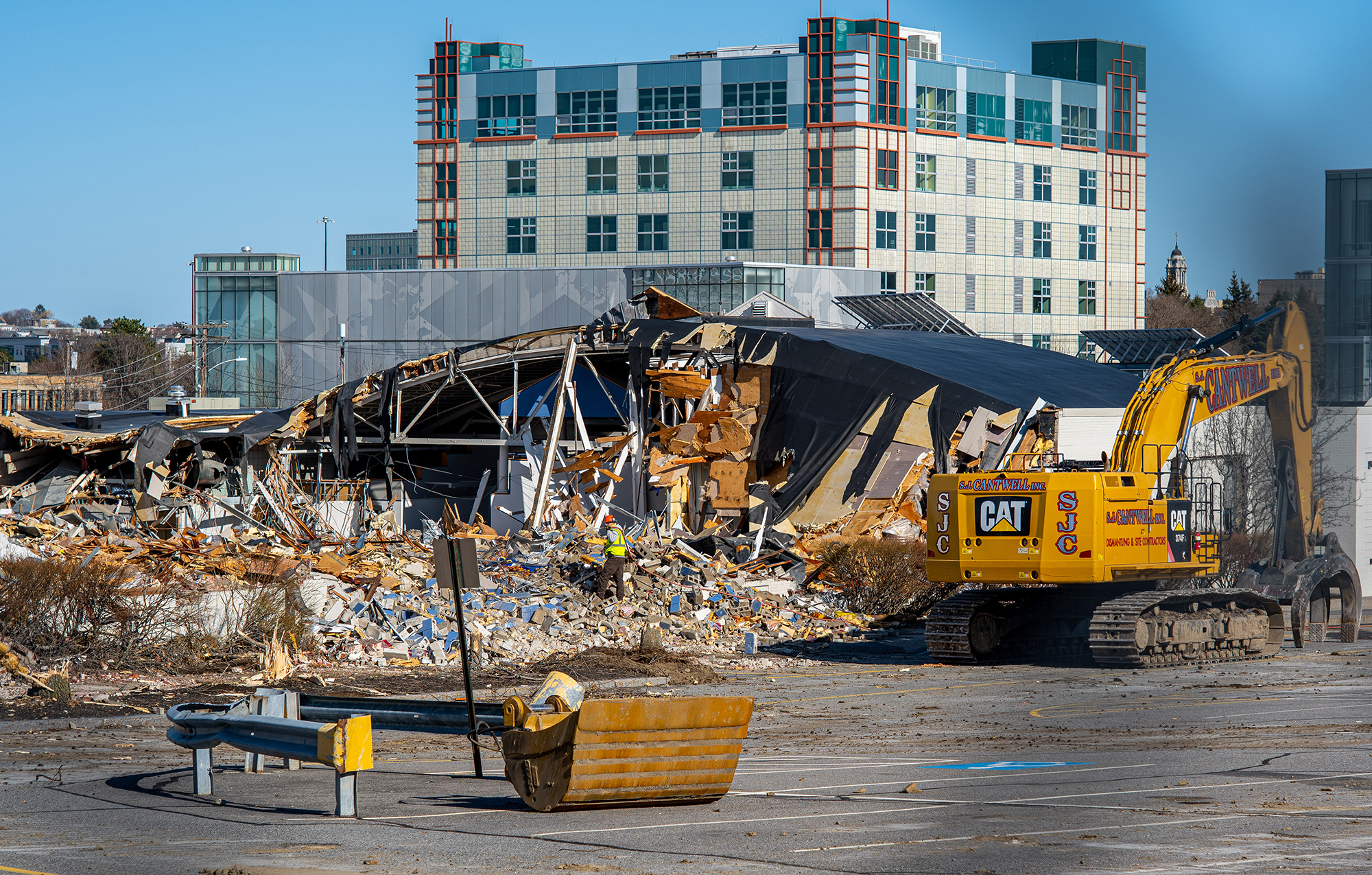 A photo of the demolition of Woodbury Commons at USM