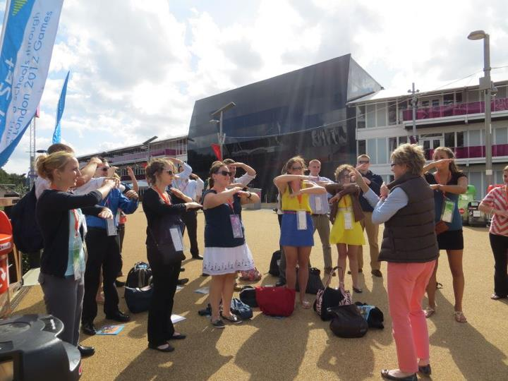 Sarah Thorp leading an activity in Olympic Park