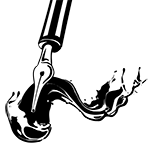 Black and white illustration of a fountain pen and flowing ink