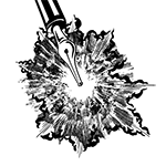 Black and white illustration of a fountain pen with an explosion of ink