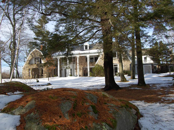 The Stone House in the winter.