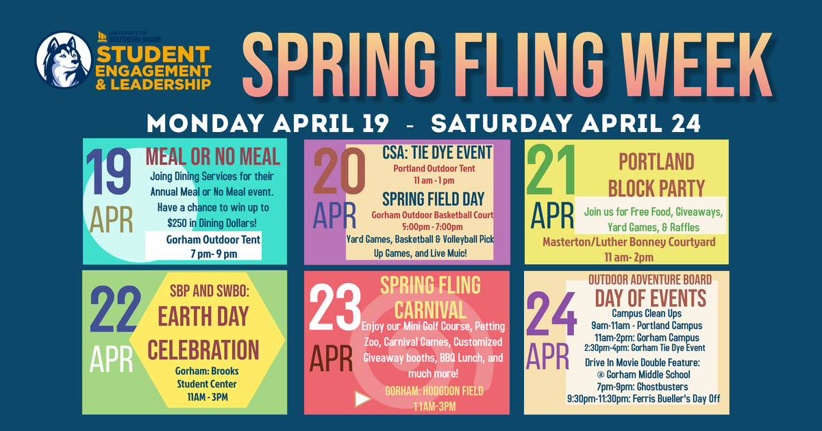 2021 Spring Fling Schedule with events such as Meal or No Meal and a Carnival